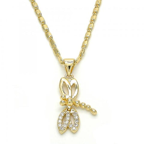 Gold Layered 04.195.0017.20 Pendant Necklace, Dragon-Fly Design, Polished Finish, Golden Tone