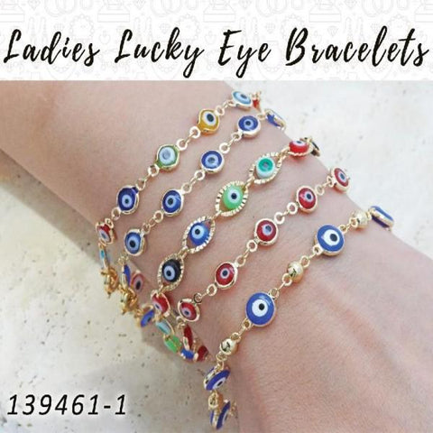 25 Ladies Lucky Eye Bracelets in Gold Layered ($4.00) ea