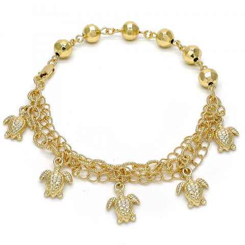 Gold Layered 03.179.0043.10 Charm Anklet , Turtle Design, Diamond Cutting Finish, Golden Tone