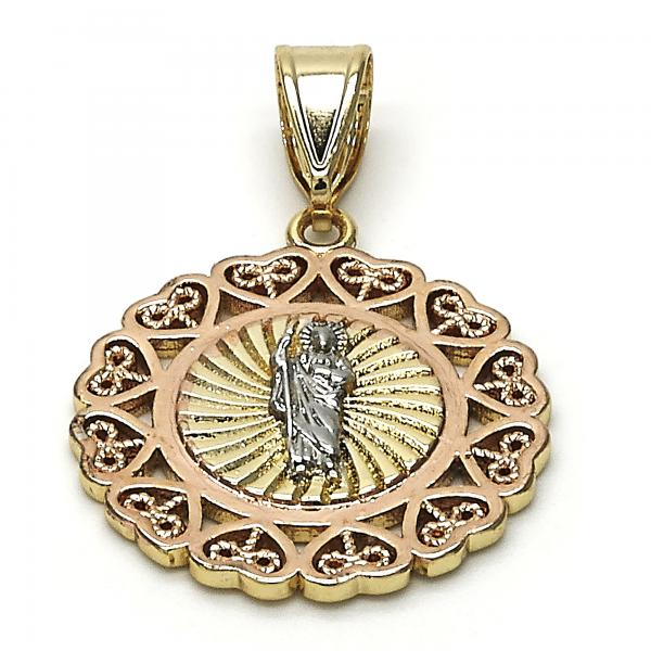 Gold Layered 05.253.0020 Religious Pendant, San Judas and Heart Design, Polished Finish, Tri Tone