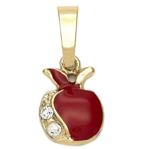 Gold Layered 05.163.0054 Fancy Pendant, Apple Design, with White Crystal, Red Enamel Finish, Golden Tone