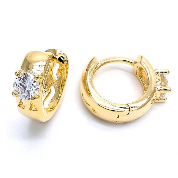 Gold Layered 02.156.0146 Huggie Hoop, with White Cubic Zirconia, Polished Finish, Golden Tone