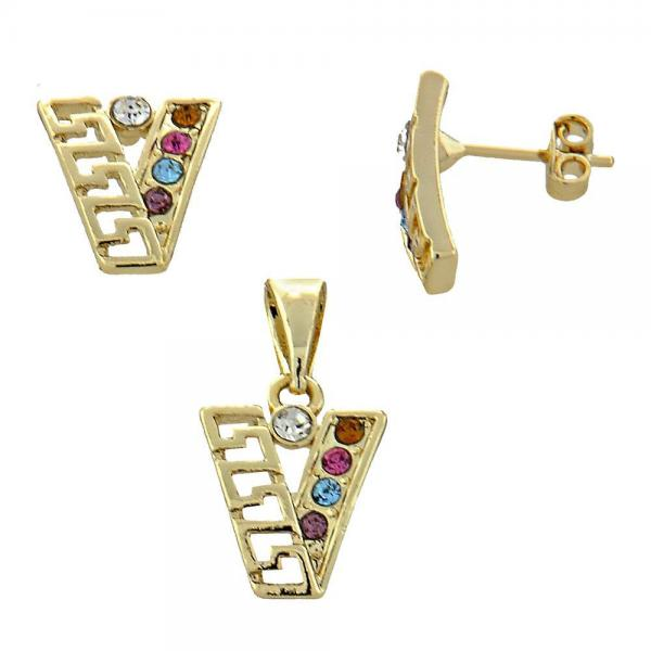 Gold Layered 5.052.019 Earring and Pendant Adult Set, Greek Key Design, with  Crystal, Golden Tone