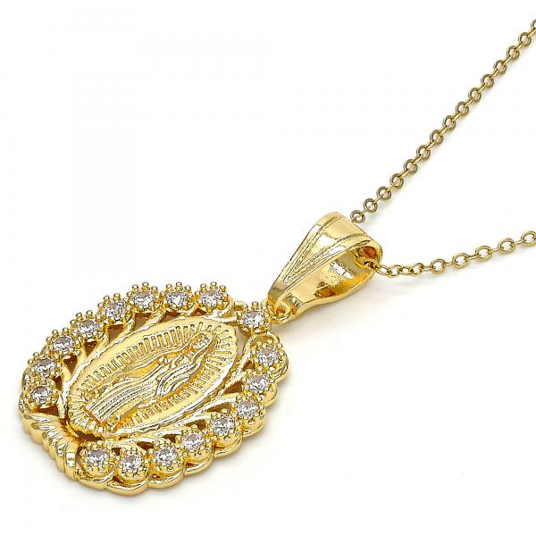 Gold Layered Religious Pendant, Guadalupe Design, with Cubic Zirconia, Golden Tone