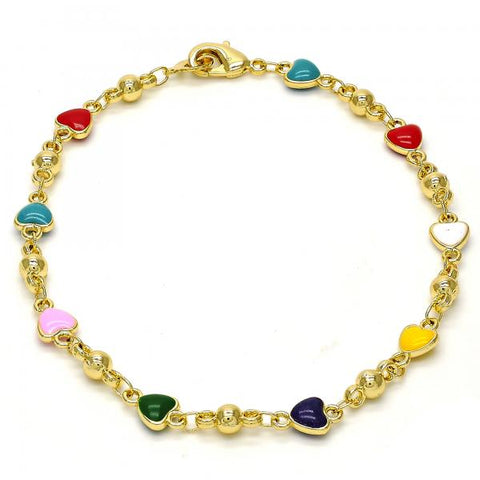 Gold Tone 03.213.0012.08.GT Fancy Bracelet, Heart Design, Multicolor Enamel Finish, Golden Tone