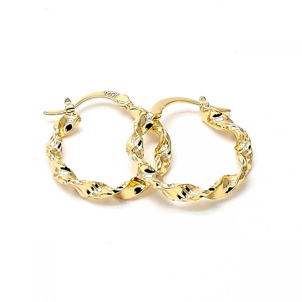 Gold Layered Small Hoop, Twist Design, Golden Tone