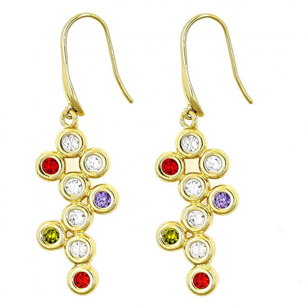 Gold Layered 02.59.0115 Dangle Earring, Grape Design, with Multicolor Cubic Zirconia, Polished Finish, Golden Tone