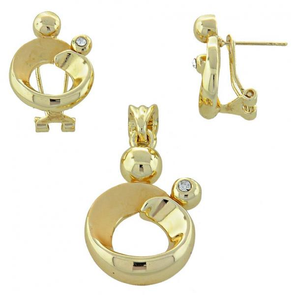 Gold Layered 10.59.0146 Earring and Pendant Adult Set, with  Crystal, Polished Finish, Golden Tone
