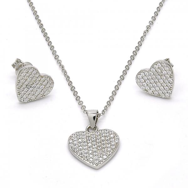 Sterling Silver 10.281.0021 Earring and Pendant Adult Set, Heart Design, with White Micro Pave, Polished Finish, Rhodium Tone