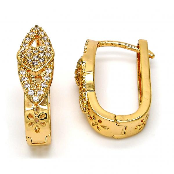 Gold Layered 02.264.0005.15 Huggie Hoop, Heart Design, with White Micro Pave, Polished Finish, Gold Tone