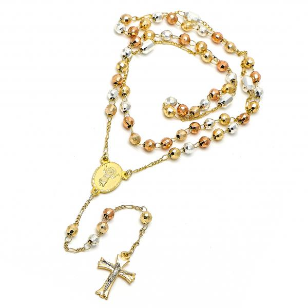 Gold Plated 09.59.0023.28 Medium Rosary, Divino Niño and Crucifix Design, Diamond Cutting Finish, Tri Tone