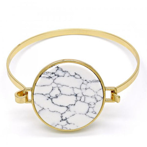 Gold Tone Individual Bangle, with Mother of Pearl, Golden Tone