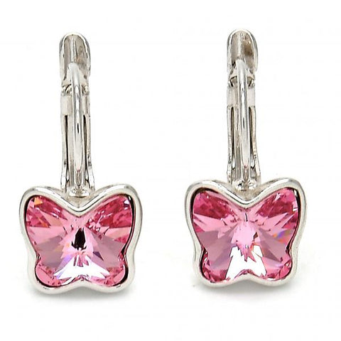 Rhodium Plated Leverback Earring, Butterfly Design, with Swarovski Crystals, Rhodium Tone