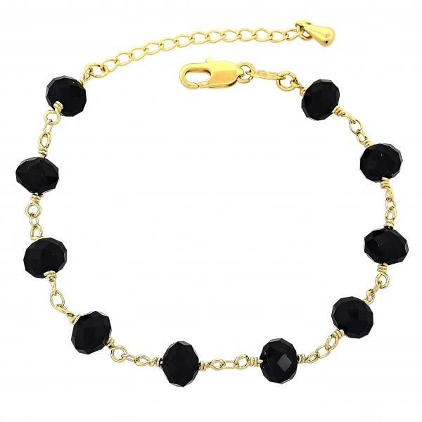 Gold Layered 03.63.1299.07 Fancy Bracelet, Ball Design, with Black Azavache, Golden Tone