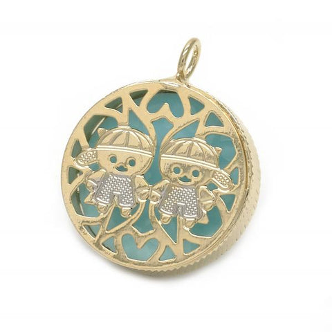 Gold Layered 05.09.0058 Fancy Pendant, Little Boy and Filigree Design, Blue Enamel Finish, Two Tone