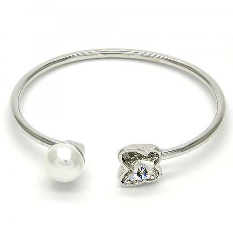 Rhodium Plated Individual Bangle, Butterfly Design, with Swarovski Crystals and Pearl, Rhodium Tone