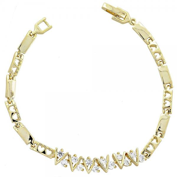 Gold Layered 5.026.012 Fancy Bracelet, Heart Design, with White Cubic Zirconia, Polished Finish, Golden Tone