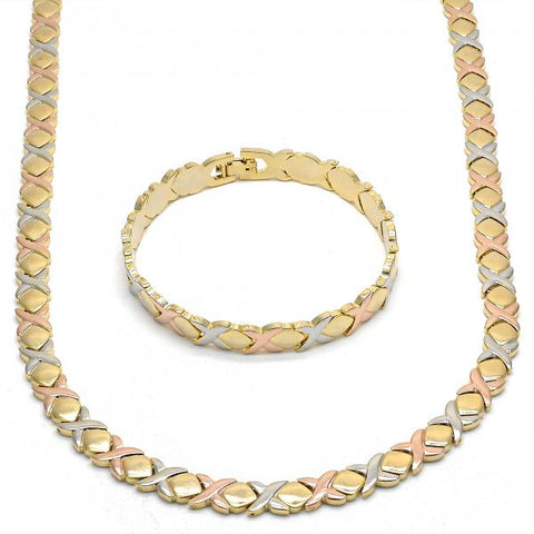 Gold Layered 06.102.0007 Necklace and Bracelet, Hugs and Kisses Design, Polished Finish, Tri Tone