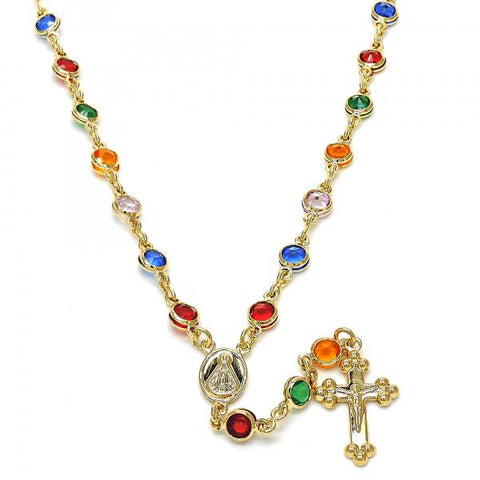 Gold Layered 09.63.0115.18 Medium Rosary, Caridad del Cobre and Crucifix Design, with Multicolor Cubic Zirconia, Polished Finish, Golden Tone