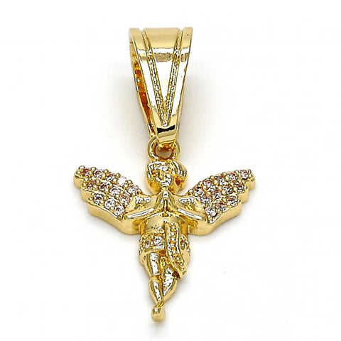 Gold Layered 05.120.0041 Religious Pendant, Angel Design, with White Micro Pave, Polished Finish, Golden Tone