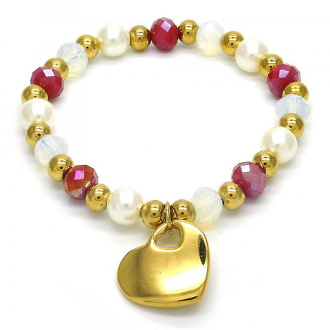 Stainless Steel 03.324.0003.07 Charm Bracelet, Heart Design, with Ivory Pearl and Multicolor Crystal, Polished Finish, Golden Tone