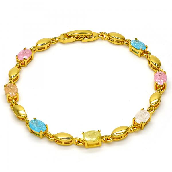 Gold Tone 03.213.0004.07.GT Tennis Bracelet, with Multicolor Cubic Zirconia, Polished Finish, Golden Tone