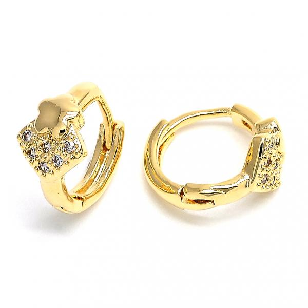 Gold Layered 02.168.0011 Huggie Hoop, Star Design, with White Cubic Zirconia, Polished Finish, Golden Tone