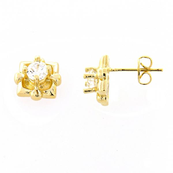 Gold Layered 02.165.0156 Stud Earring, with White Cubic Zirconia, Polished Finish, Golden Tone