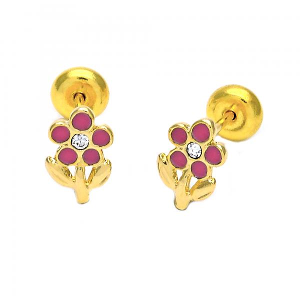 Gold Layered 02.09.0045 Stud Earring, Flower Design, Enamel Finish, Golden Tone