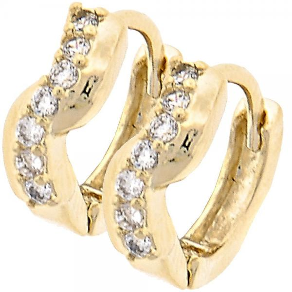 Gold Layered 02.165.0010 Huggie Hoop, with White Cubic Zirconia, Polished Finish, Gold Tone