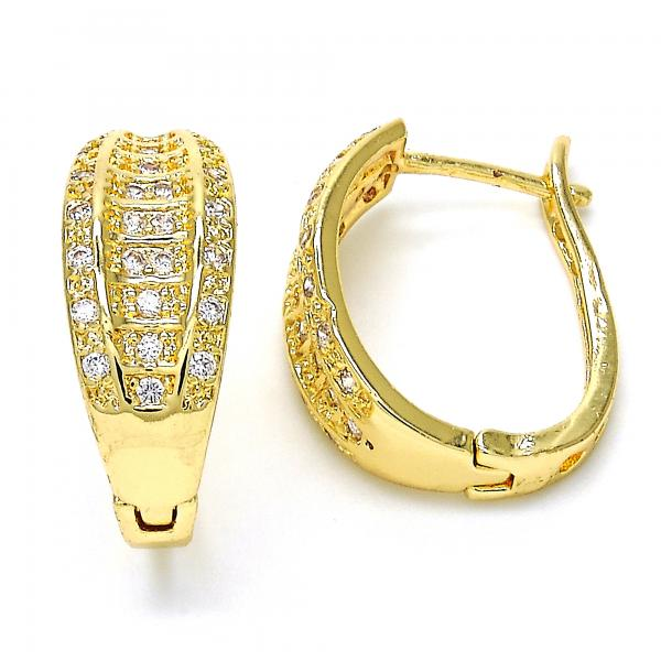 Gold Layered 02.260.0021.20 Huggie Hoop, with White Micro Pave, Polished Finish, Golden Tone
