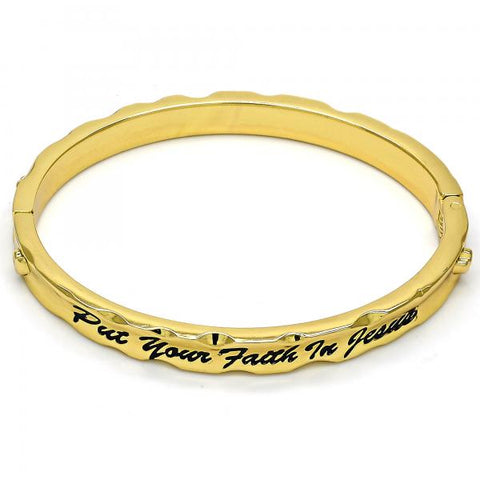 Gold Tone 07.252.0031.05.GT Individual Bangle, Heart Design, Black Enamel Finish, Golden Tone (07 MM Thickness, Size 5 - 2.50 Diameter)