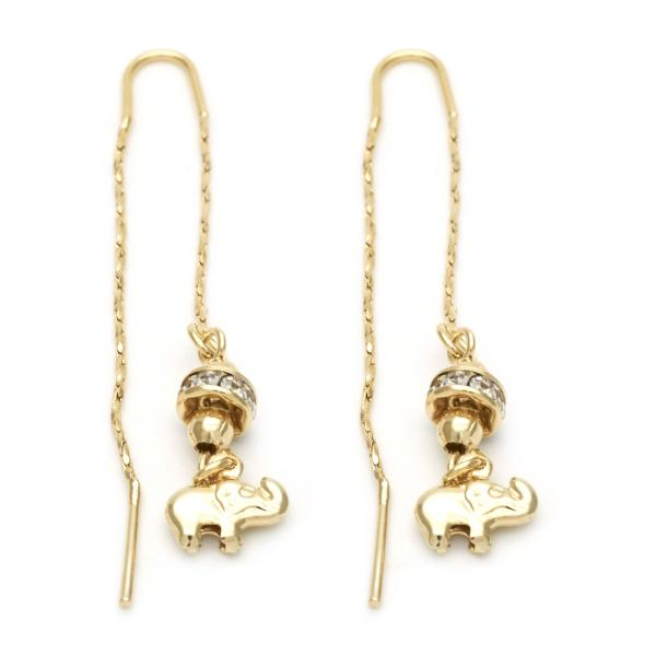 Gold Layered 02.02.0479 Long Earring, Elephant Design, with White Crystal, Polished Finish, Golden Tone