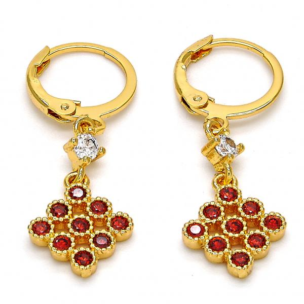 Gold Layered 02.206.0023 Long Earring, with Garnet and White Cubic Zirconia, Polished Finish, Golden Tone