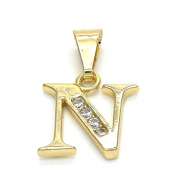 Gold Layered 05.26.0026 Fancy Pendant, Initials Design, with White Cubic Zirconia, Polished Finish, Golden Tone