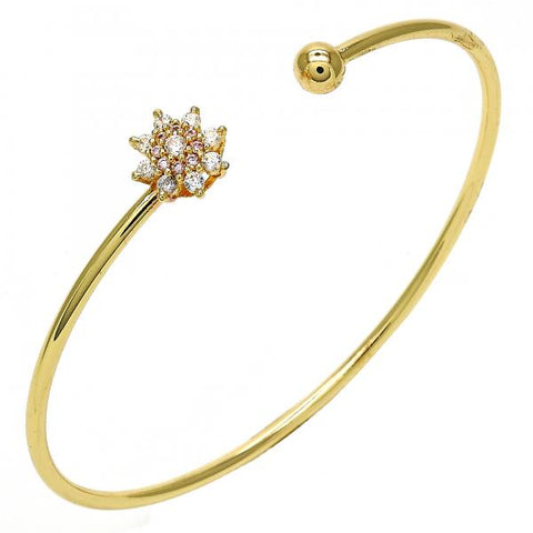 Gold Layered Individual Bangle, Flower Design, with Cubic Zirconia, Golden Tone