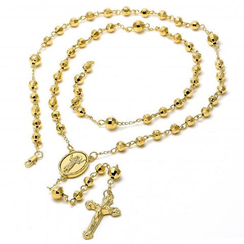 Gold Layered 5.217.006.1.30 Large Rosary, Crucifix and Divino Niño Design, Diamond Cutting Finish, Golden Tone