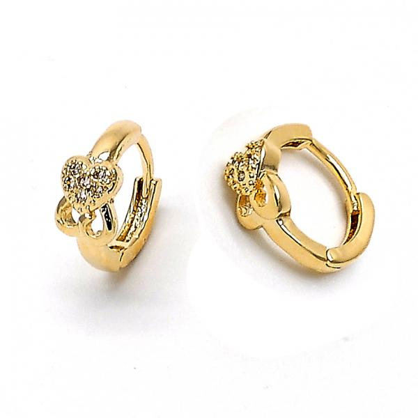 Gold Layered 02.165.0005 Huggie Hoop, Heart Design, with White Cubic Zirconia, Polished Finish, Golden Tone