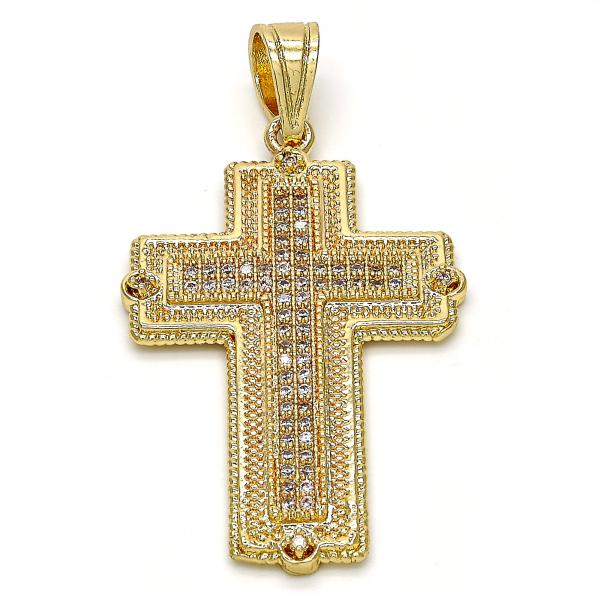 Gold Layered 05.120.0049 Religious Pendant, Cross Design, with White Micro Pave, Polished Finish, Golden Tone