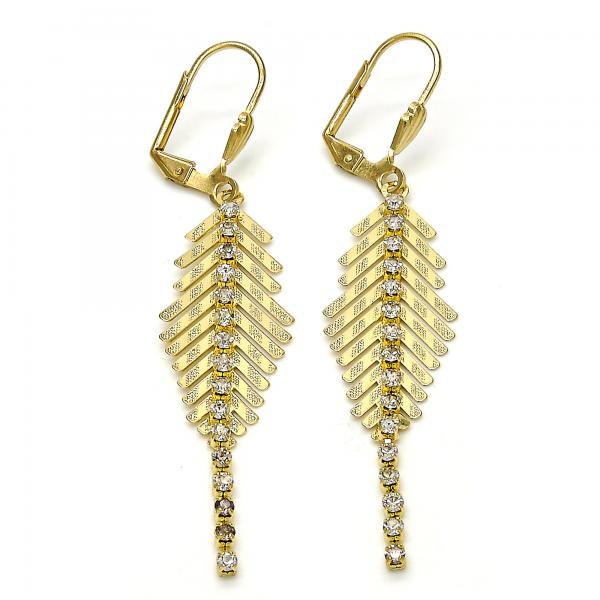 Gold Layered 02.160.0010 Dangle Earring, Leaf Design, with White Crystal, Polished Finish, Gold Tone