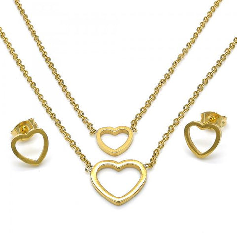 Stainless Steel 06.320.0004 Necklace and Earring, Heart Design, Polished Finish, Golden Tone
