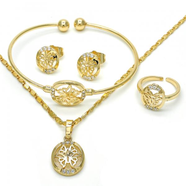 Gold Layered 06.329.0011 Earring and Pendant Children Set, with White Cubic Zirconia, Polished Finish, Golden Tone