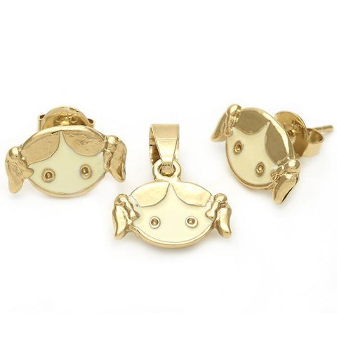Gold Layered 10.64.0005 Earring and Pendant Children Set, Little Girl Design, White Enamel Finish, Golden Tone