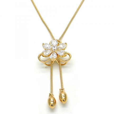 Gold Layered 04.26.0028.22 Fancy Necklace, Flower Design, with White Cubic Zirconia, Polished Finish, Golden Tone