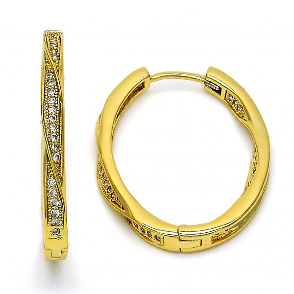 Gold Layered 02.297.0005.25 Huggie Hoop, with White Micro Pave, Polished Finish, Golden Tone