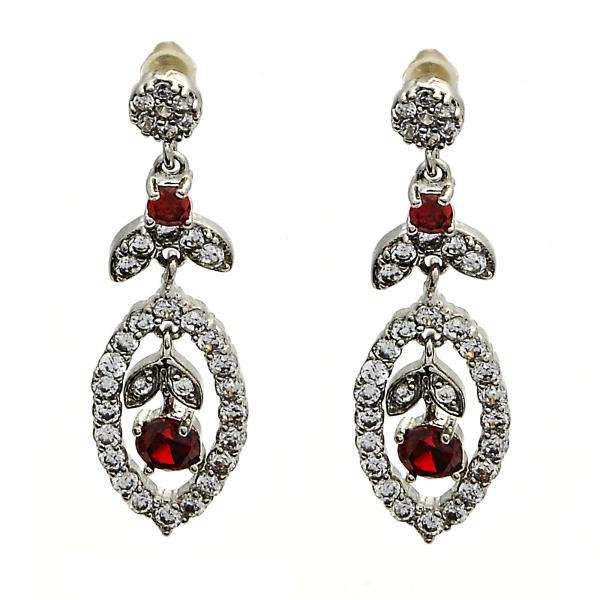 Rhodium Plated 02.206.0037 Long Earring, Leaf and Flower Design, with Garnet Cubic Zirconia and White Micro Pave, Polished Finish, Rhodium Tone