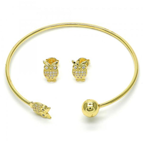 Gold Layered 13.199.0004 Set Bangle, Owl and Ball Design, with White Cubic Zirconia, Polished Finish, Golden Tone (02 MM Thickness, One size fits all)