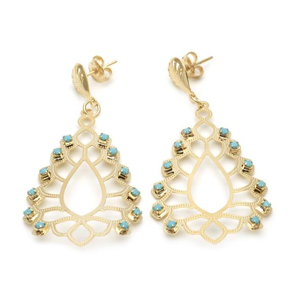 Gold Layered 02.09.0128 Dangle Earring, with Aquamarine Crystal, Diamond Cutting Finish, Golden Tone