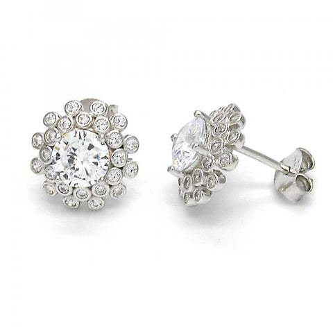 Sterling Silver 02.286.0019 Stud Earring, with White Cubic Zirconia, Polished Finish,