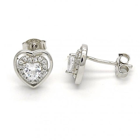 Sterling Silver 02.285.0076 Stud Earring, Heart Design, with White Cubic Zirconia, Polished Finish,